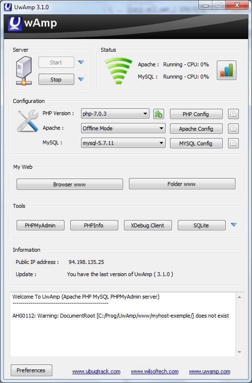 Локальный WAMP-сервер UwAmp