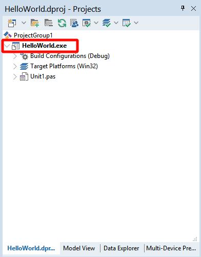Название исполняемого файла (exe) соответствует имени проекта