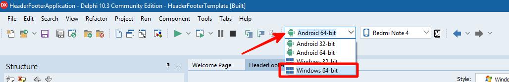 Переключить платформу разработки на Windows