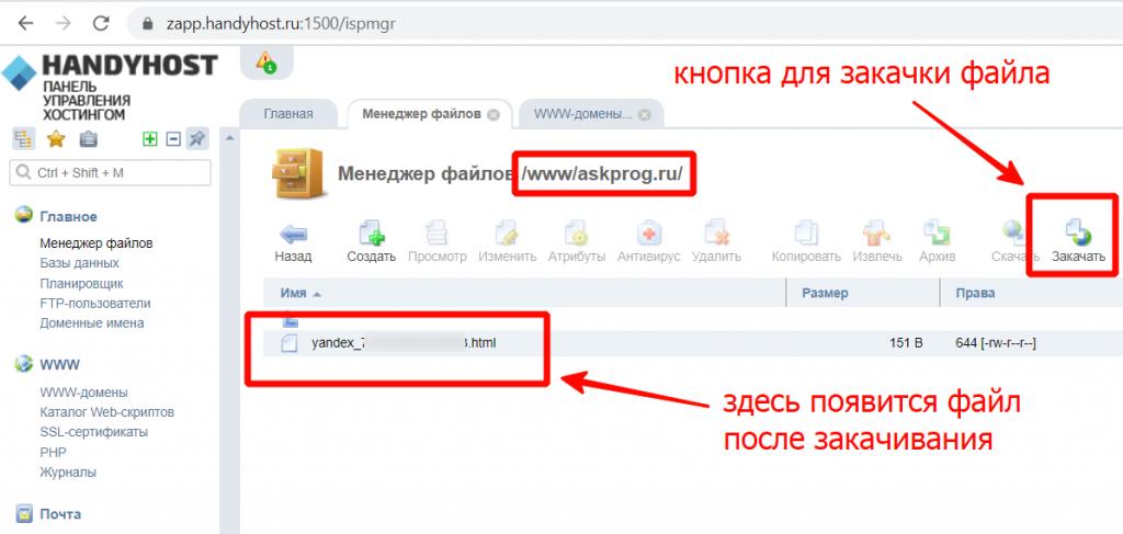 Закачать файл для подтверждения домена